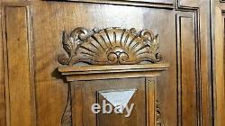 Pair shell gothic design panel antique french wood carving architectural salvage