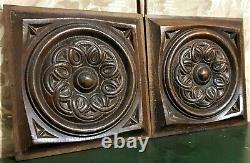 Pair solid rosette entrelas carving panel Antique french architectural salvage