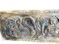 RUSTIC Carved Wood Buddha Wall Panel Yoga Studio Spiritual Sculpture DOOR HEADER