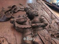 Rare Antique French Carved Wood Wall Panel Knight France Collectible