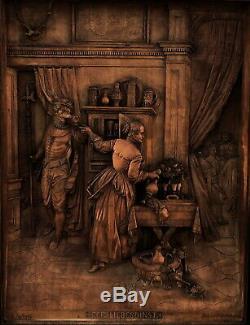 Rare Antique Renaissans German Carved Wooden Panel Painting Der Liebesdinst