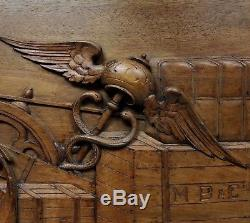 Rare Finely Hand Carved Antique Maritime Medical Shipping Co. Wood Office Panel
