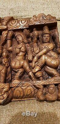 Real Masterpieces 2 Exquisite Vintage Hindu Religious Carved Temple Wood Panels