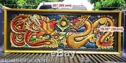 Red Dragon Phoenix Wood Art Carving Home Wall Sculpture Panel Decor 15 x 39