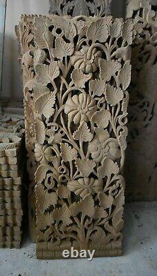 Redefine your home with 14 x 35 Luxury fretwork, hand-carved teak wall panel