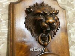 Roaring lion carving clock panel Antique french walnut architectural salvage