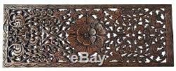 Rustic Carved Wood Wall Decor Panel. Floral Wood Wall Art. Dark Brown 35.5x13.5