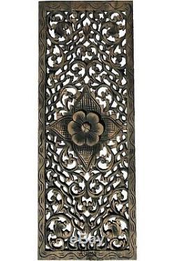 Rustic Home Decor Floral Wood Carved Wall Panels. Asian Wood Wall Decor Plaque