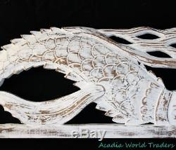 Rustic Mermaid Panel carved wood Bali architectural Art Wall Decor right 40