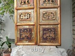 S1P. Antique Carved Gold Gilt Wood Panel with two pcs/set Vase/ Flower and Fish