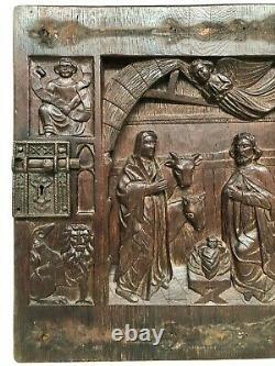 SALE Stunning Gothic Birth of christ Carved door panel in wood + Evangelist (2)