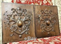 Scroll drapery cornucopia carving panel Antique french architectural salvage