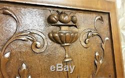 Scroll drapery walnut carving panel Antique french fruit architectural salvage