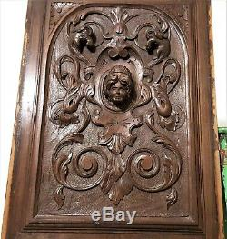 Scroll leaf queen griffin wood carving panel Antique french arhitectural salvage