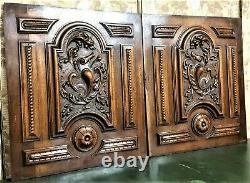 Scroll leaves decorative wood carving panel Antique french architectural salvage