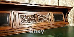 Scroll leaves lady decorative carving panel Antique french architectural salvage