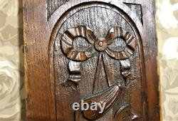 Scroll leaves ribbon wood carving panel Antique french architectural salvage