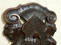 Scroll leaves winged griffin carving panel Antique french architectural salvage