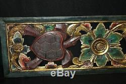 Sea Turtle relief Panel wall decor sculpture Carved Wood Balinese Art