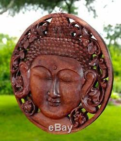 Serene Buddha Wall sculpture Round Panel Hand Carved Wood Balinese art