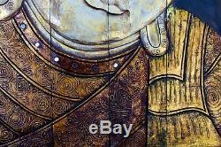 Serene Buddha wall art sculpture Panel Folding Screen Balinese wood carving