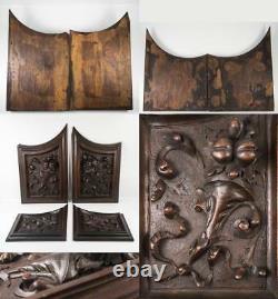 Set 4pc Antique Carved Wood Cabinet Panels, Neo-Renaissance, Gothic Cornucopia
