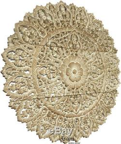 Set of 3. Large Asian Carved Wood Floral Wall Decor Panels. 36 Round. White wash