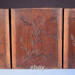 Set of 4 Antique Oak Solid Wood Panels Carvings Salvage