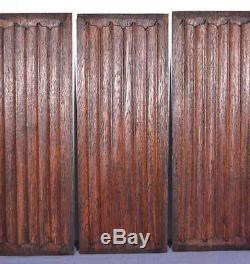 Set of Three Antique Gothic Revival Solid Oak Wood Panels withLinen Fold Carvings
