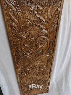 Shabby Chic Wooden Superb Wall Hanging Panel Flower Vase Carved 100% Mango Wood