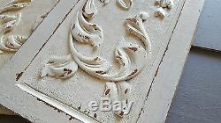 Shabby carved wood panel pair Bow Basket Salvaged architectural