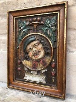 Stunning Carved Medieval Style polychrome panel in wood