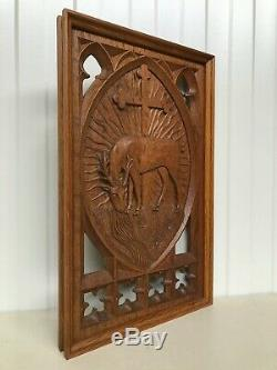 Stunning Carved oak Gothic Panel with Deer -RARE