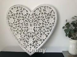 Stunning Extra Large White Carved Mango Wood Heart Wall Panel