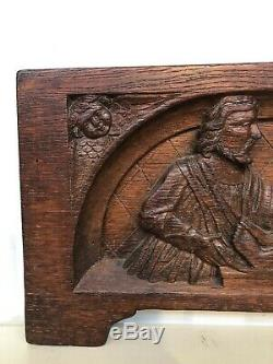 Stunning Gothic Carved panel in oak with death christ & saints