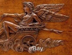 Superb 26 x 17 Antique French Hand Carved Wood Panel, Apollo, Chariot