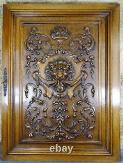 Superb French Antique Large Carved Solid Walnut Wood Panel Door Lion Head