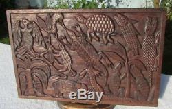 Superb Large Antique Benin Carved Hardwood Panel