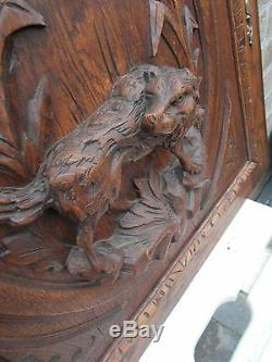 Tall French Antique Carved Panel/Door in oak Wood hunting dog 19th. C