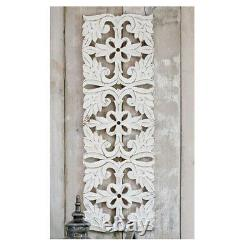 Tall Large Hand Carved White Ornate Mango Wood Art Wall Panel Decoration