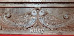 Teak Wood Vintage Floral Peacock Wall Panel Antique Decorative Peafowl Plaque US