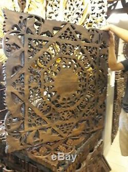 Teak Wood Wall Carving squares Flower Thai Carved Wooden Plaque Relief Panel 35