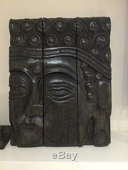 Tibet Buddhism 3 Panel Face Mask With Shelf Wood Carving Wall Or Mantle Art