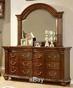 Traditional Cherry Brown Finish 5 pieces Bedroom Set w. King Size Panel Bed ICAG