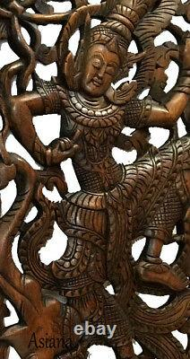 Traditional Thai Dancing Figure on Elephant. Large Carved Wood Panels. Brown