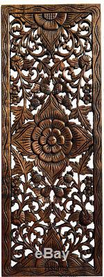 Traditional Thai Figure with Elephant Carved Wood Wall Art Decor Panels. Set of 3