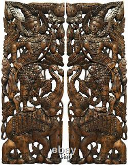 Traditional Thai Figure with Lotus on Elephant. Large Carved Wood Panels. Brown