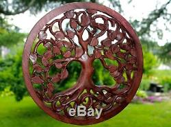 Tree Of Life Wall Art Plaque Panel Hand Carved Wood Mahogany Balinese 11 25