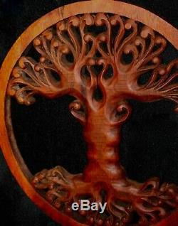 Tree of life Wall Sculpture Plaque Panel Hand Carved wood Mahogany Balinese Art