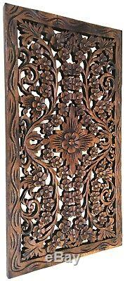 Tropical Wood Carved Wall Decor Panel. Floral wood wall Art. Dark Brown 24x13.5